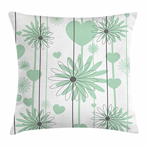 Lunarable Hearts Throw Pillow Cushion Cover, Floral Abstract Striped Background Soft Color Daisies Nature Flourish, Decorative Square Accent Pillow Case, 18 X 18 Inches, Mint Green Charcoal Grey