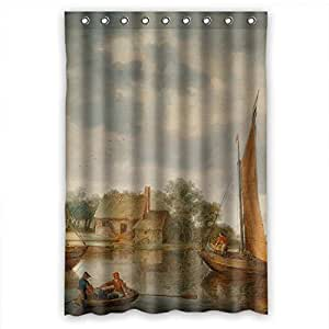 Mikmoki Polyester Bathroom Curtains Of Beautiful Scenery Landscape Painting For Couples Relatives Bf Teens Mother. Durable Width X Height / 48 X 72 Inches / W * H 120 By 180 Cm(fabric)