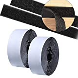1.5 inch 20 Feet Adhesive Hook Loop Roll Mounting Tape Strips Nylon Fabric Traps Super Sticky Back Fastener for Hanging Jewelry Organizer Pictures Remotes Tools Crafts Home Office School