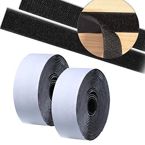 YWAY 1.5 inch 20 Feet Adhesive Hook Loop Roll Mounting Tape Strips Nylon Fabric Traps Super Sticky Back Fastener for Hanging Jewelry Organizer Pictures Remotes Tools Crafts Home Office School
