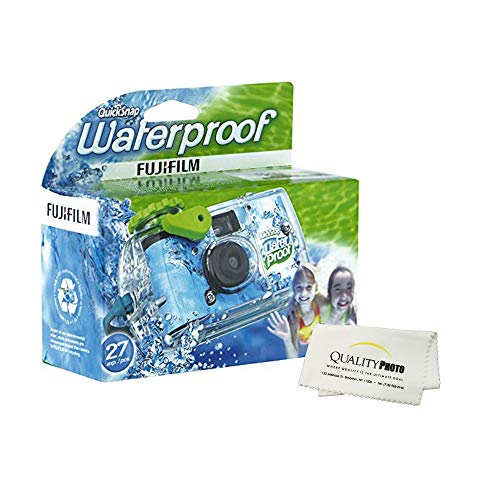 Fujifilm Quick Snap Waterproof 27 exposures 35mm Camera 800 Film, 1 Pack + Quality Photo Microfiber Cloth (1 Pack)