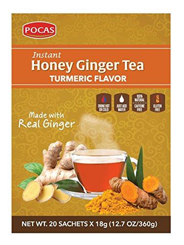 Pocas Honey Ginger Tea, Turmeric, 12.7 Ounce, 20 Bags (Pack of 2)