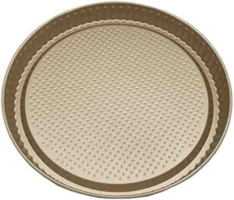 "C&L Nonstick Bakeware Pizza Pan 10.5"" Gold Pizza Crisper Even Baking"