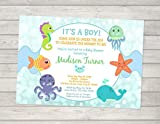 Under The Sea Baby Shower Invitation, Baby Boy, Whale, Crab, Starfish, Octopus Nautical Baby Shower Invitations