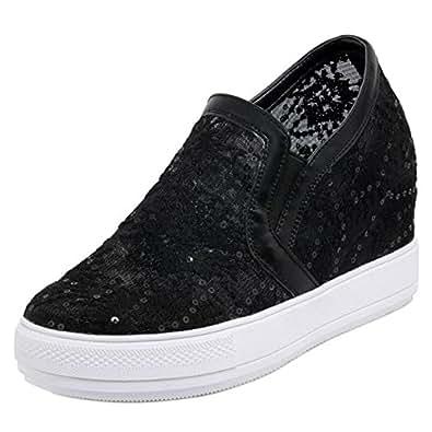 FANIMILA Women Fashion Wedge Heels Sneaker Shoes Slip OnBlack Size 32 Asian