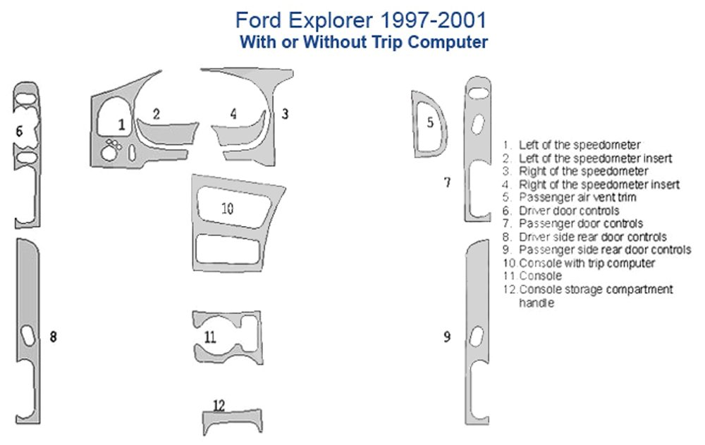 Ford Explorer Dash Trim Kit, 4 Doors, With or Without Trip Computer - Solid Yellow by American Dash