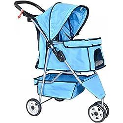 3 Wheels Pet Stroller Dog Travel Folding Carrier Easy Fold Blue
