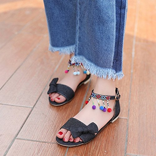 Summer TAOFFEN Open Women Comfort Flat Black Ankle Sandals Strap Buckle Toe Bow with xIEIrwaq