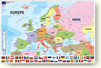 amazon 現代ヨーロッパ地図 modern map of europe ウォールポスター