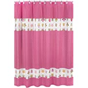 Sweet Jojo Designs Pink Happy Owl Kids Bathroom Fabric Bath Shower Curtain