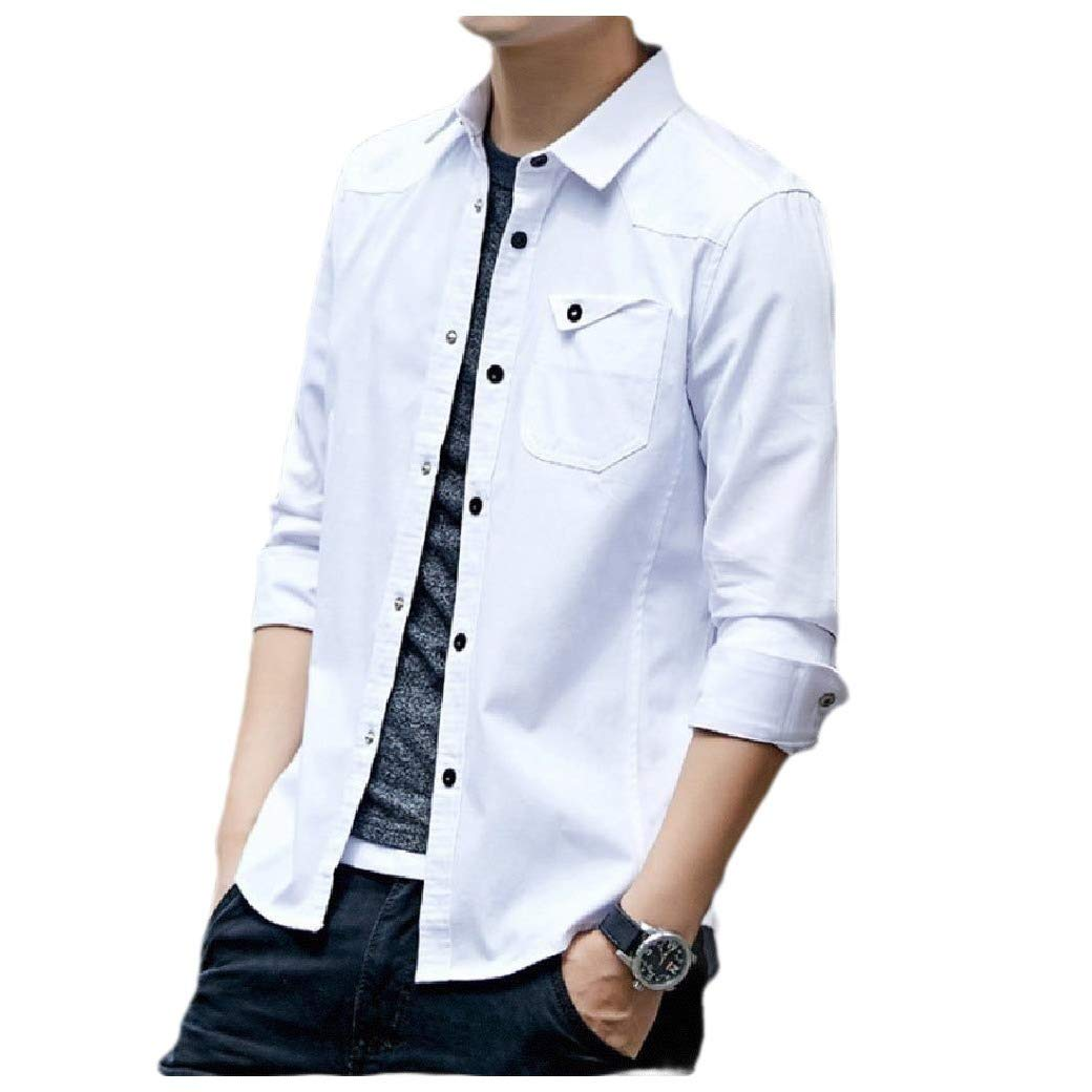 Abetteric Mens Slim Fit Long Sleeve Pocketed Cotton Fitted Oxford Shirt