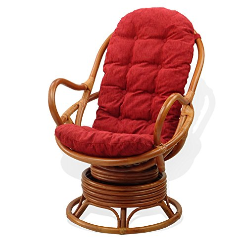 Lounge Swivel Rocking Java Chair Natural Rattan Wicker with Burgundy Cushion, Cognac