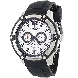 "Stuhrling Original Men's 268.332D62 ""Champion Victory"" Stainless Steel Watch with Black Silicon Strap"
