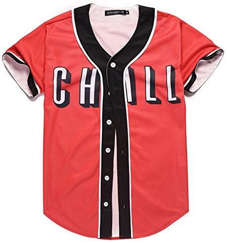 PIZOFF Short Sleeve Arc Bottom Baseball Team Jersey 3D All Over Red Contrast Print Basketball Shirt Y1724-50-XL