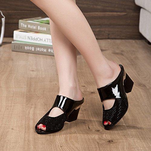 Ularma Zapatos de mujer sandalias medio tacón Color bloque Rhinestone decoración negro