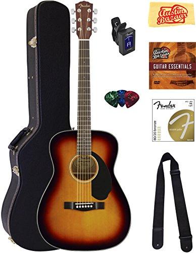 Fender CC-60S Concert Acoustic Guitar - 3-Color Sunburst Bundle with Hard Case, Tuner, Strap, Strings, Picks, Instructional DVD, Polishing Cloth