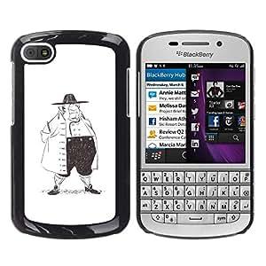 GOODTHINGS Funda Imagen Diseño Carcasa Tapa Trasera Negro Cover Skin Case para BlackBerry Q10 - la historia de la moda hombre lápiz arte dibujo grande