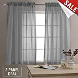 dark grey curtains next Sheer Curtains for Living Room Rod Pocket Grey Curtain Panels for Bedroom 63 inch Length Voile Curtain Set (1 Pair, Gray)