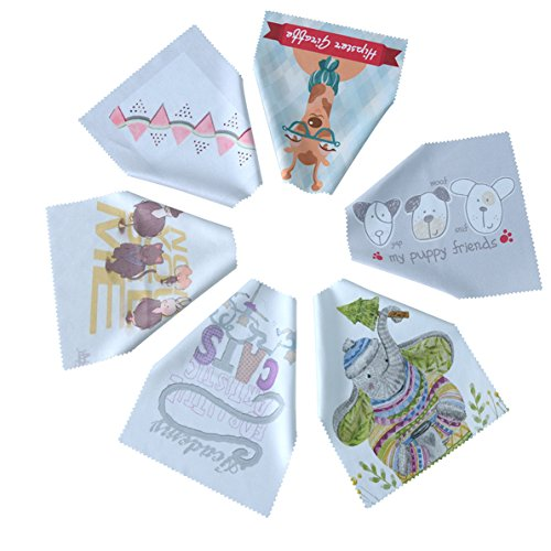 Microfiber Cleaning Cloths by Toyo World-6 Pieces, Different Printed Patterns-Ideal for Cleaning Glasses, Sunglasses, Camera Lenses, iPad, Phones,and Other Delicate ()