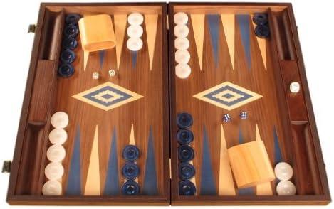 Walnut Wood Backgammon Game Set - Large Board, Brown / Blue