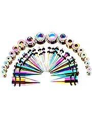 Huacan 36 Piezas Dilatador y Dilatación oreja Set 1.6-10mm Punk Acero quirutgico y Acrilico para Elegir