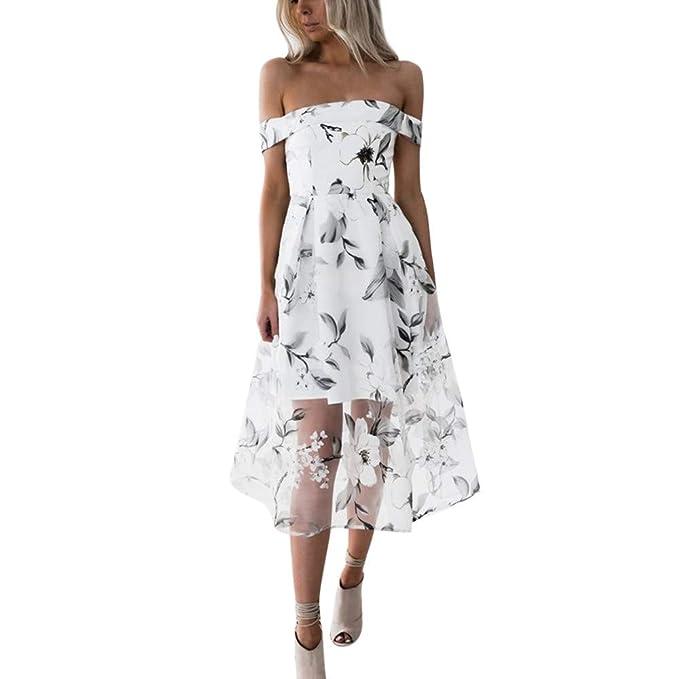 Ginli Vestito Donna Elegante Abito da donna con stampa floreale senza  spalline e52adb406c2