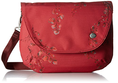 Haiku Bliss RFID Blocking Saddle Bag, Cinnabar Wisteria Print - Saddle Travel Zip Wallet