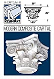 Modern Composite Capital for Hollow Column - XXL Size - Composite Resin - Unfinished - Paint Ready - Load Bearing - Dimensions In Images/Details