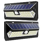 LITOM Outdoor 62 LED Adjustable Time Motion Sensor 270° Wide Angle and Waterproof Design Wireless Solar Lighting for Front Door, Yard, Garage, Deck, (2 Pack)