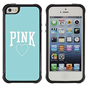 Jordan Colourful Shop@ Pink Baby Blue Heart Text Love Clean Rugged hybrid Protection Impact Case Cover For iphone 5S CASE Cover ,iphone 5 5S case,iphone5S plus cover ,Cases for iphone 5 5S
