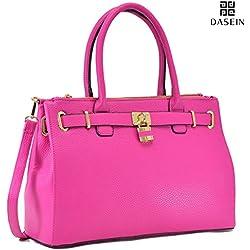 Dasein Womens Briefcase Vegan Leather Satchel Top Handle Padlock Shoulder Bag Handbag Laptop Designer Purse