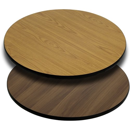 (Flash Furniture 30'' Round Table Top with Natural or Walnut Reversible Laminate Top)