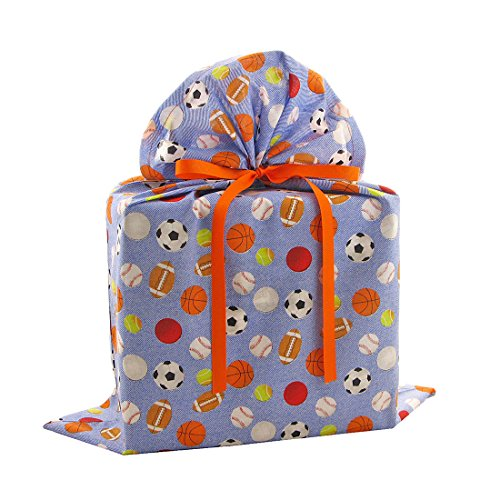 Sports on Blue Reusable Fabric Gift Bag (Large 20 Inches Wide by 27 Inches High) ()