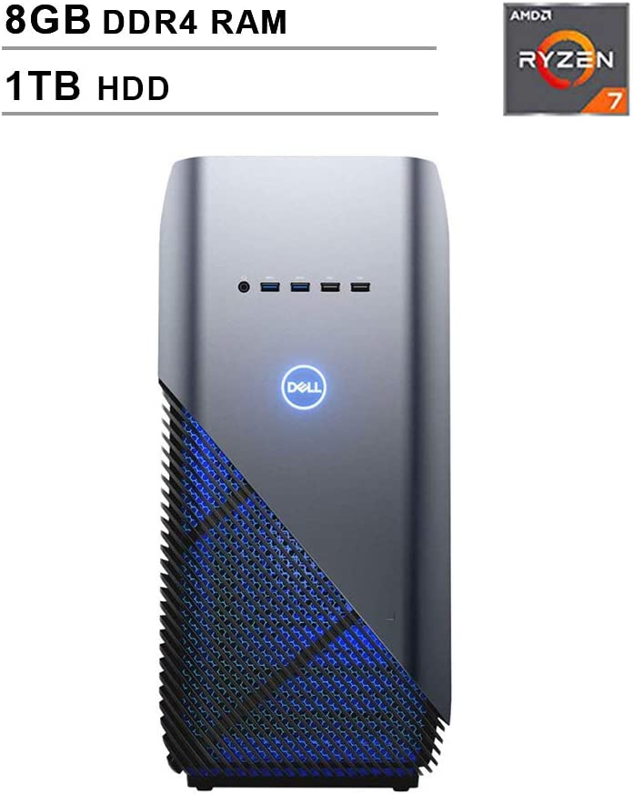 2020 Newest Dell Premium Inspiron Gaming Desktop (AMD 8-Core Ryzen 7 2700 up to 4.1GHz, 8GB DDR4 RAM, 1TB HDD, AMD Radeon RX 580 4GB, WiFi, Bluetooth, HDMI, Windows 10, Blue)