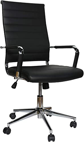 Office Chair,High Back Padded Tall Ribbed,PU Leather Surface,Computer Chair Comfort Height Adjustable,Chair Seat