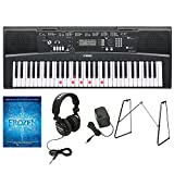 Yamaha EZ-220 61-Lighted Key Premium Portable Keyboard with Yamaha L3C Attachable Keyboard Stand, PA130 AC Power Adapter, JVC Full Sized Stereo Headphones and Frozen Music Book