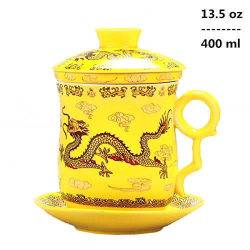 Dragon Infuser - 4pcs Set of Chinese Dragon Pattern Tea-Mug with Strainer Infuser and Lid and Saucer Ceramic Tea Mug Convenient System Chinese Porcelain Personal Tea Cup,13.5oz(400ml)/4 Colors (YELLOW)