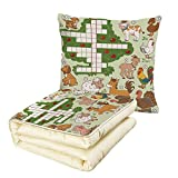 iPrint Quilt Dual-Use Pillow Word Search Puzzle Cartoon Style Farm Animals Cute Happy Country Life Theme Squares Numbers Decorative Multifunctional Air-Conditioning Quilt Multicolor