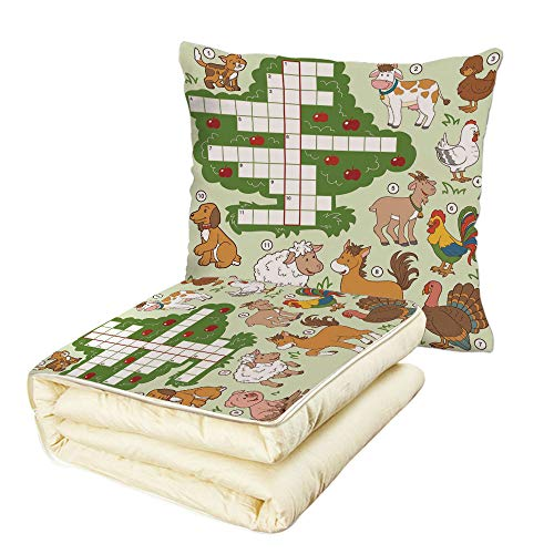 iPrint Quilt Dual-Use Pillow Word Search Puzzle Cartoon Style Farm Animals Cute Happy Country Life Theme Squares Numbers Decorative Multifunctional Air-Conditioning Quilt Multicolor by iPrint (Image #6)