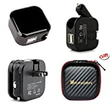 KINDEN 2-in-1 Compact Wall Charger,Car Charger,Travel Charger Dual USB Port 5V 2.1A AC DC Fast Charging Home LED Power Adapter (Black)