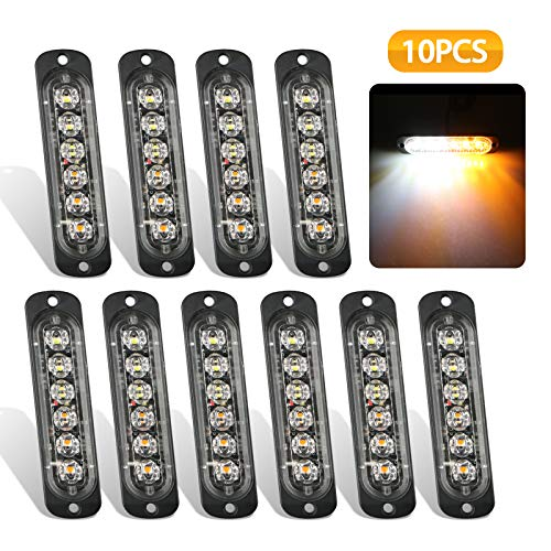 - EEEKit Emergency Strobe Lights, Universal 10-Pack 6 LED 18W Surface Mount Amber/White Emergency Warning Hazard Flashing Strobe Light Bar for Off Road Vehicle, ATVs, Truck