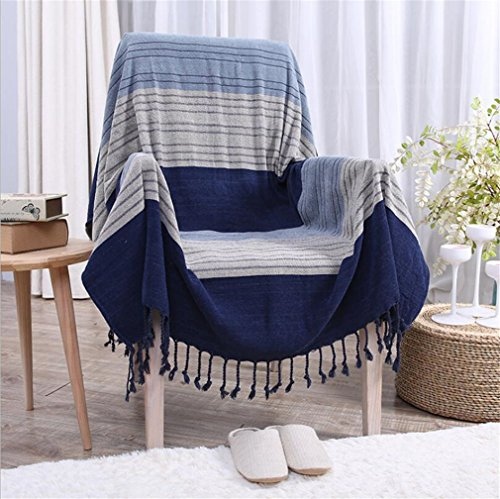 Double-Sided Chenille Jacquard Tassels Cashmere Woven Throw Blanket Decorative Sofa Chair Cover Tablecloth-Blue Plaid,150190cm