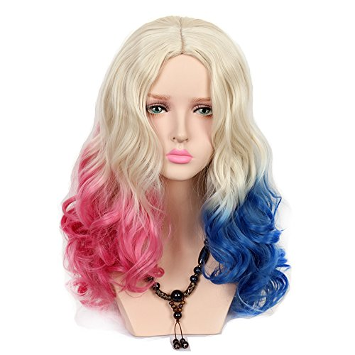 Yuehong Two Colors Wavy Long Curly Synthetic Hair Gradual Dyeing Cosplay Wig -