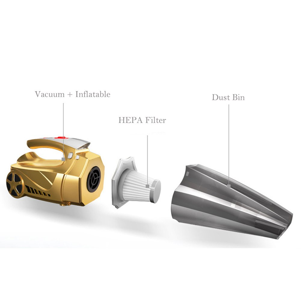 Car Accessories Car Vacuum Cleaner Hand Held Vacuum Wet Dry DC 12V Vacuum High Power Vacuum with Tire Inflator and LED for Lighting - HEPA Filter by LECHEBANG (Image #5)