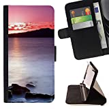 Momo Phone Case / Wallet Leather Case Cover With Card Slots - Sunset Sea Beautiful Nature 20 - Sony Xperia M4 Aqua