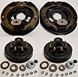 Electric Trailer Brake Backing Plates 12'' LH & RH w/2 Hub Drum Kits (6.5'' on 8)