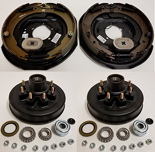 Electric Trailer Brake Backing Plates 12'' LH & RH w/2 Hub Drum Kits (6.5'' on 8) by eCustomhitch