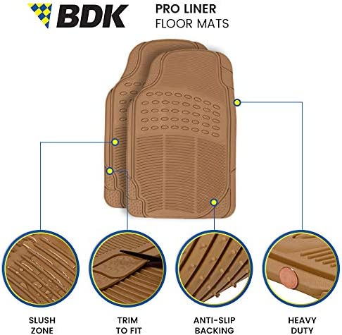 BDK Premium Series Rubber Car Floor Mats (4 Piece) Combo Set, Front with Rear Seat 2nd & 3rd Row Liners, Heavy Duty All Weather Protection for Van SUV Large Vehicles, Trim to Fit