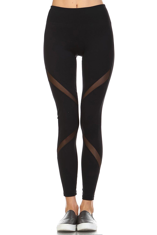 Mono B Women's Athletic Full Leggings with High Elasticized Waist M Black
