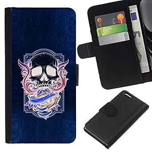 All Phone Most Case / Oferta Especial Cáscara Funda de cuero Monedero Cubierta de proteccion Caso / Wallet Case for Apple Iphone 5C // Neon Purple Skull Wings Blue Purple
